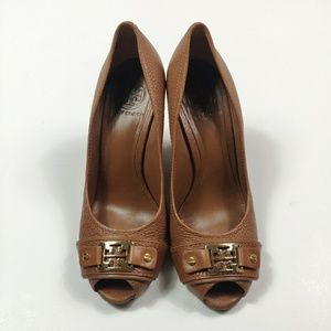 Tory Burch Brown Carnell Leather Peep Toe Wedge